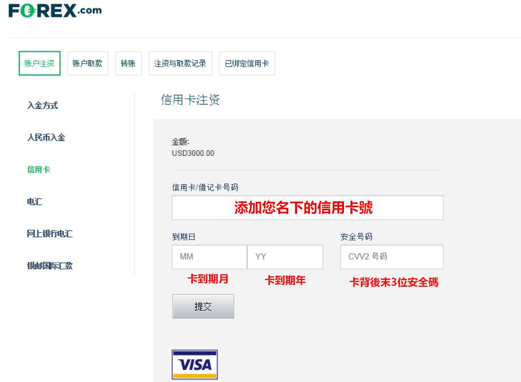 forex嘉盛外匯信用卡入金流程